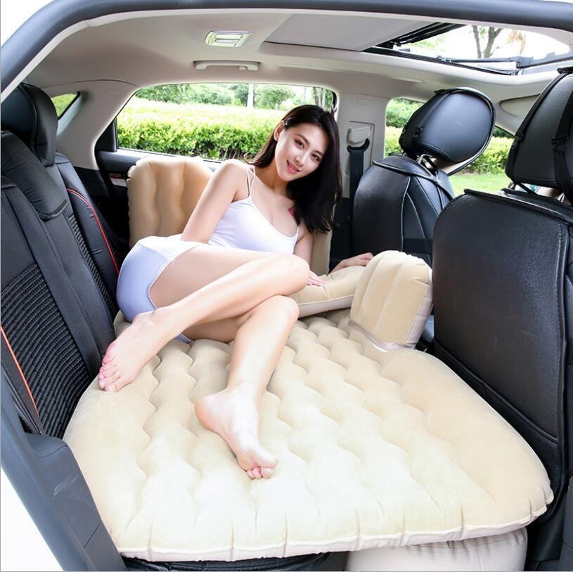 2019 Coche Colchón de aire Cama de viaje Colchón inflable Cama de aire Cama de coche inflable Cubierta de asiento trasero del coche Cojín de sofá inflable