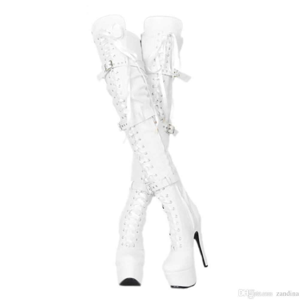 ZDONE Ladies Elegant High Heel Over Knee Boots Fisheyes+Buckles Sexy Dance Party Club Booties Platform Large Size Fashion Booty Shoes N0801