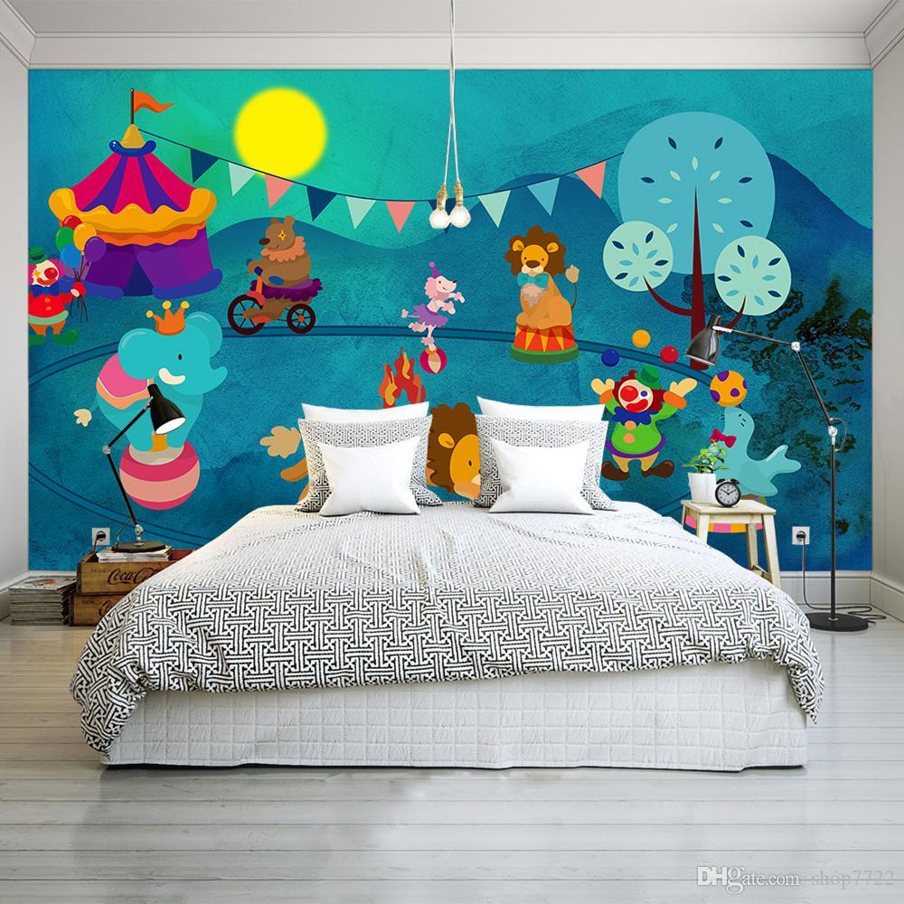 3D Photo Mural Wallpaper For Kids Room Animal Paradise Cartoon Children House Mural Non-woven Bedroom Wallpaper Painting