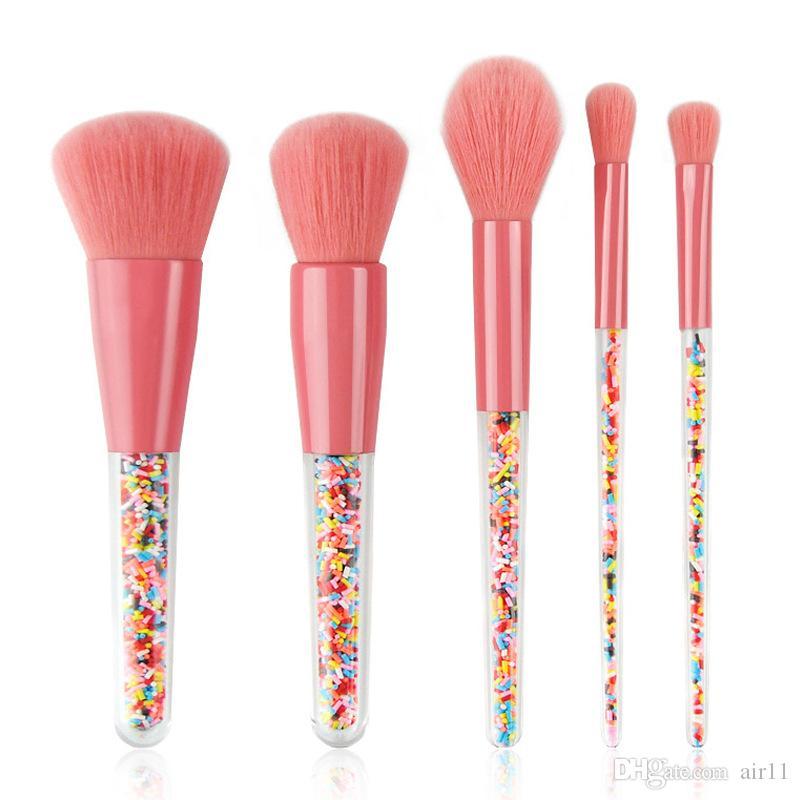 Nouveau 5pcs Lollipop Bonbons Licorne Cristal Maquillage Pinceaux Ensemble Coloré Belle Fondation Mélange Pinceau Maquillage Outil Maquillaje