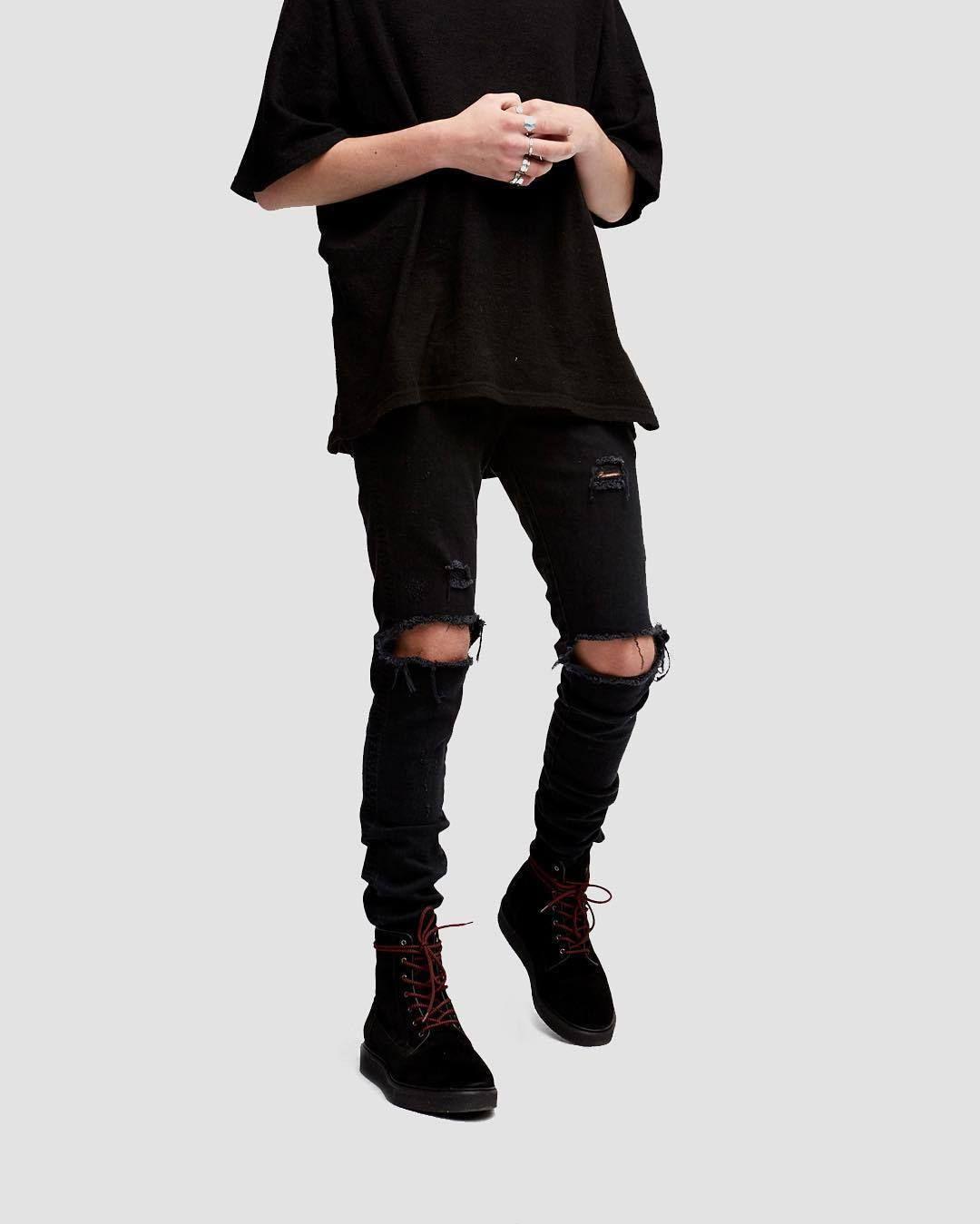 Dear2019 Holes Hatch Knee Male Self-cultivation Bound Feet Trend Black Classic Knife Beggar Jeans