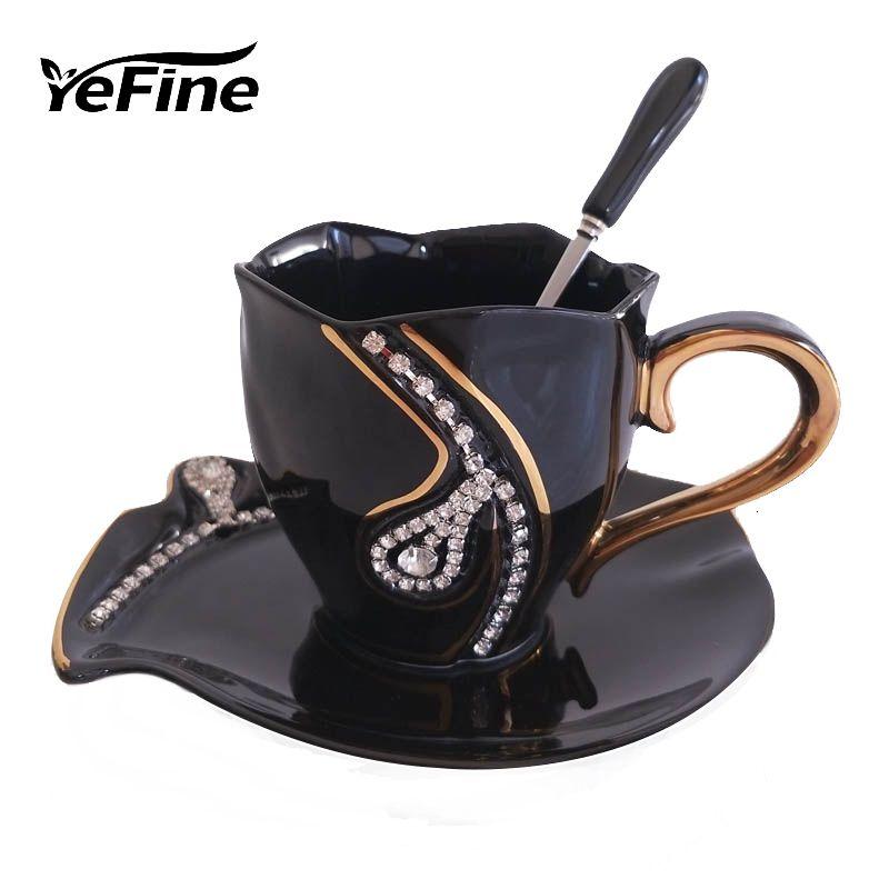 Yefine Diamonds Design Coffee Mug Creative Gift Lovers Tea Cups 3d Ceramic Mugs With Rhinestones Decoration Cups And Saucers Sh190925 Unusual Coffee Mugs Very Large Coffee Mugs From Hai08 16 67 Dhgate Com