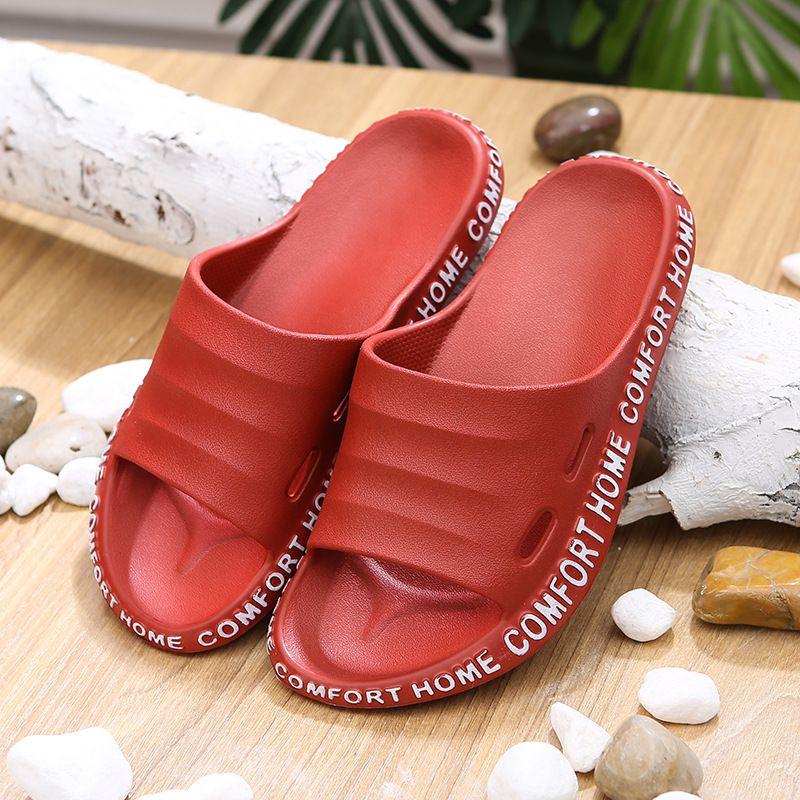 LLUUMIU Chinelos para mulheres 2020 Moda Confortável antiderrapante exterior Praia calçados casuais dos homens Mulheres Red Flip Flops casa Slides