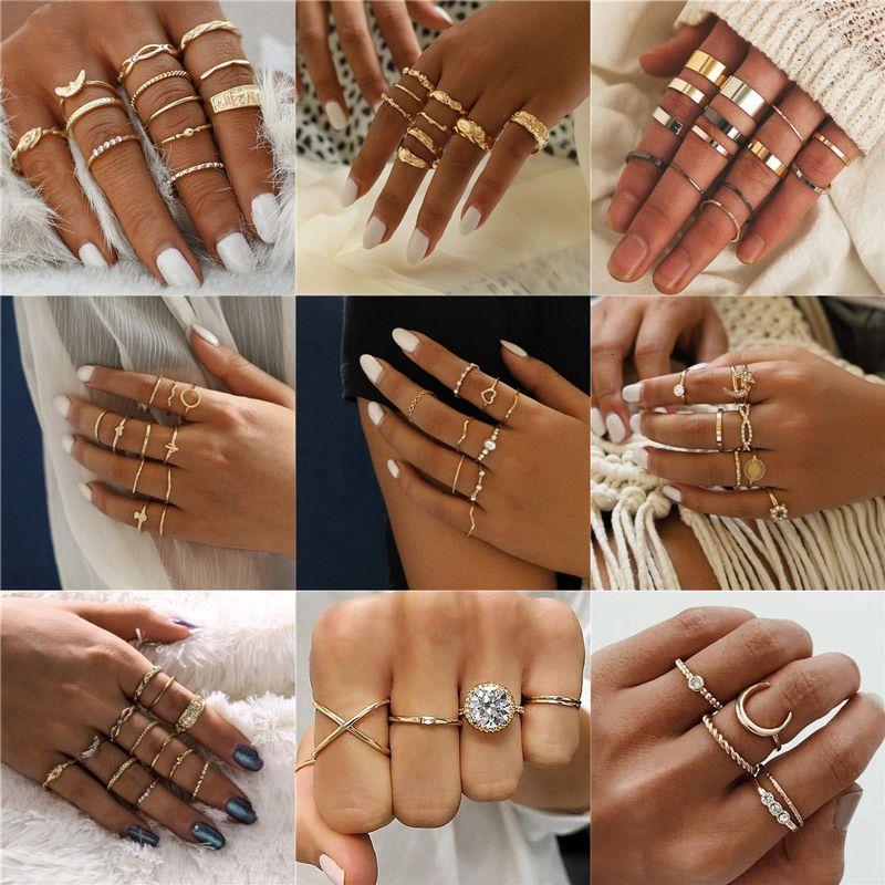 2020 새로운 패션 골드 컬러 너클 반지 세트에 대한 여성 빈티지 매력 손가락 반지 여성 파티 보석 선물 드롭 배송