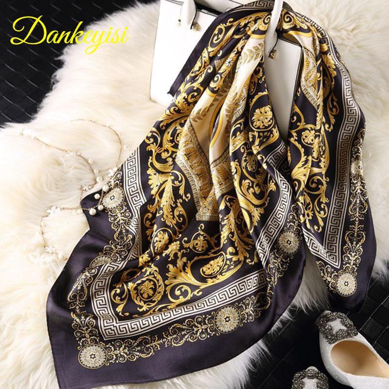 [DANKEYISI] Marken-Sommer-Schal-Frauen-100% Seide Schal Schal-Schal Hijab Big-Platz 90 * 90cm