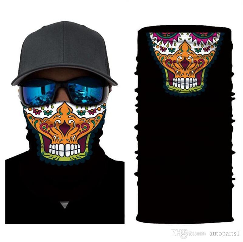 OEM venta directa de hombres y mujeres de montar los deportes cambiante protector solar mágica cara de dibujos animados payaso fantasma cráneo bufanda los 25 * 50cm