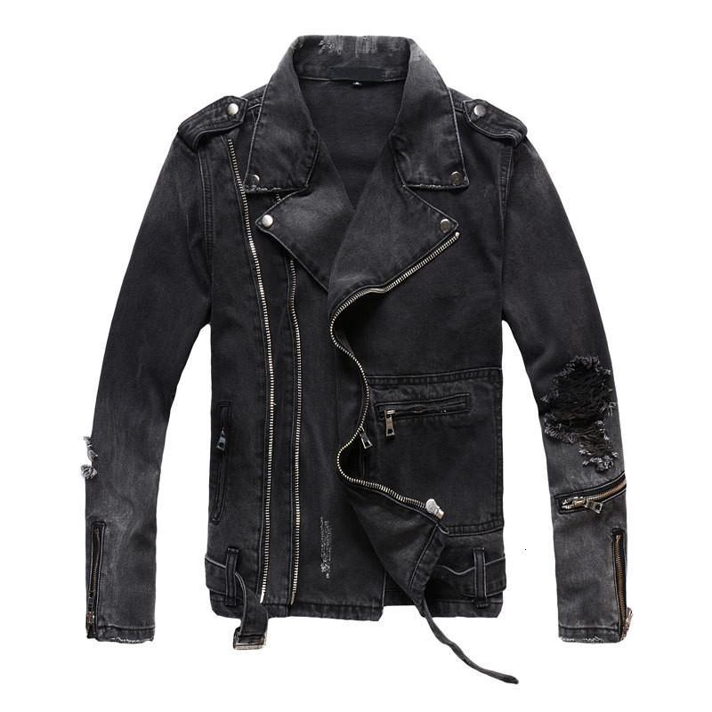 Uplzcoo новая мода байкерские джинсовые куртки мужские черные молнии отверстие джинсовые куртки пальто свободного покроя мужчины одежда Casaco мужчина для EM157 V191128