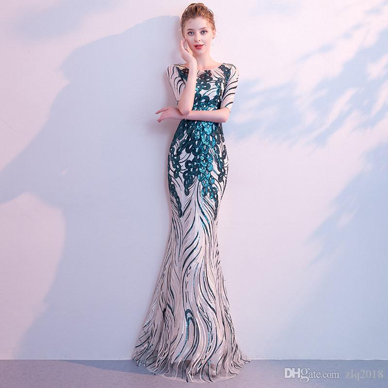 Cheap Long Sleeves Evening Dresses 2020 Sheer Scoop Appliques Sequined Mermaid Long Occasion Dresses Robe De Soiree