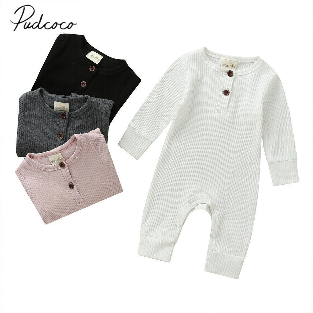 2019 Bebek İlkbahar Sonbahar Giyim Yenidoğan Bebek Erkek Bebek Kız Pamuk Romper Örme Oluklu Jumpsuit Katı Giyim Sıcak Kıyafet