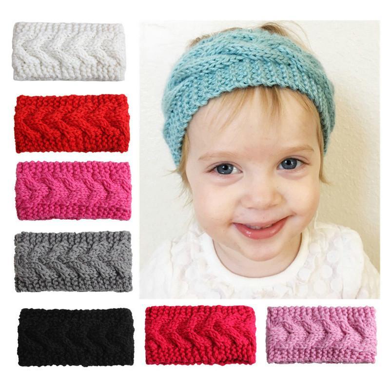 Crianças malha Headbands Bebés Meninas novo designer Hairband Inverno suave Elastic Headband doces colorem Handmade Crochet hairbands