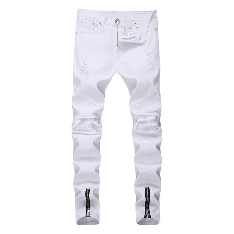 2020 Männer neue beiläufige Plissee Tight Jeans Jugend Ripped elastische Füße Zipper Pants White Slim Pants