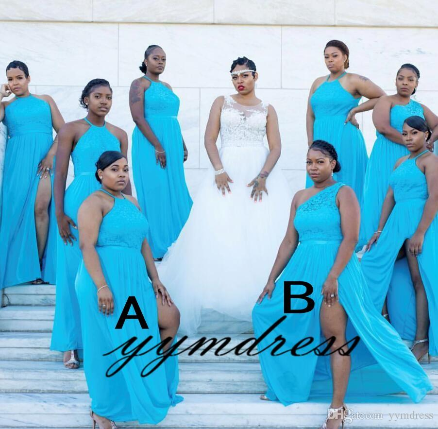 Turquoise Bridesmaid Dresses African 2019 Maid Of The Bride Evening Gowns  Formal Occasion Wear Plus Size Split Chiffon Lace Wrap Bridesmaid Dress ...