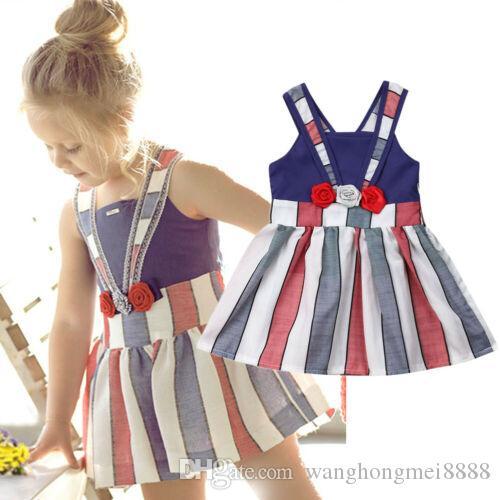 Focusnorm moda bambino bambini della neonata 1-5Y dalla banda partito floreale Abito senza maniche Sundress Outfits vestiti estivi