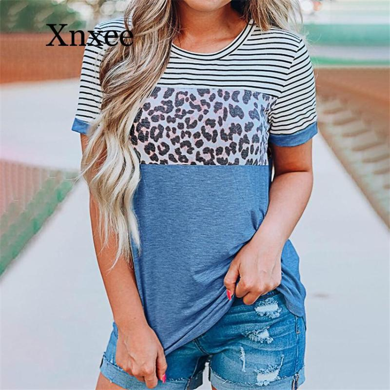 Women's T-Shirt Fashion T Shirt Women Leopard Patchwork Tops Tee Female Ropa Mujer 2021 Vintage Femme Camisetas Plus Size Sport Wear