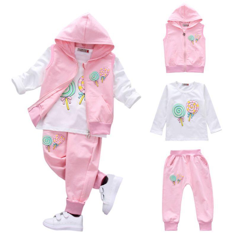 autumn Baby Girls Boys Clothes Sets Cute Infant Cotton Suits Coat+T Shirt+Pants 3 Pcs Casual Sport Kids Child Suits