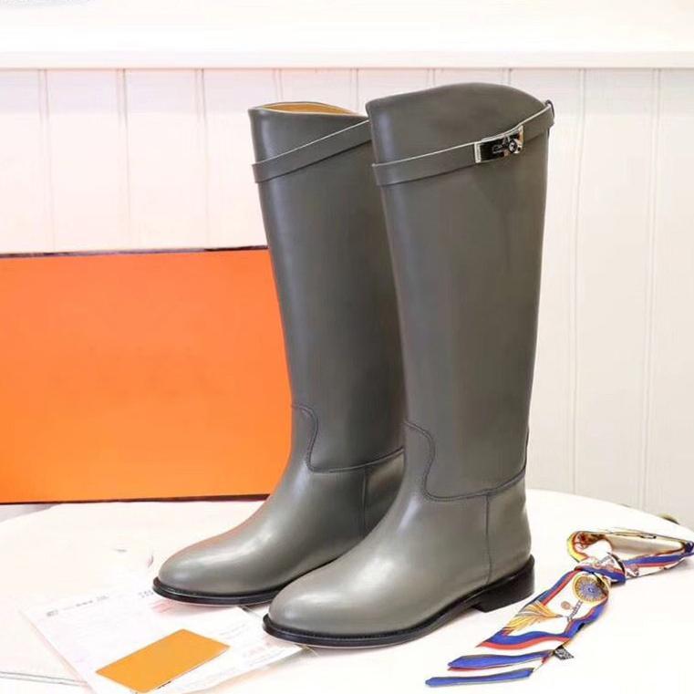 디자이너 여성 롱 부티 버클 스트랩 무릎 높은 부츠 브라운 부르고뉴 여성 캐주얼 플랫 신발 Bottillons 8 색