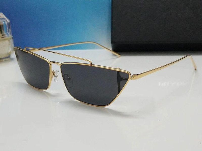 Forma de lujo 64 gafas de sol para mujer de marca del ojo de gato retro del verano mujeres del estilo de la marca del diseñador del marco completo de calidad superior vienen con el caso