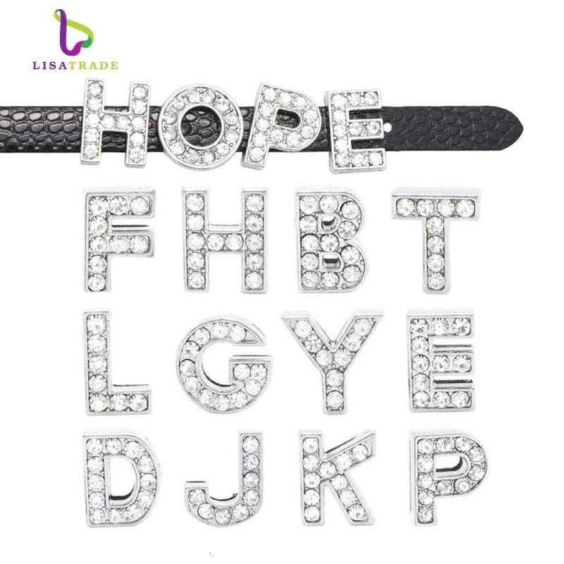 130pcs 8mm Full Rhinestone English Alphabet A-Z DIY Slide letters.slide letter. Charm fit Bracelet /wristband LSSL01*130 CJ191116