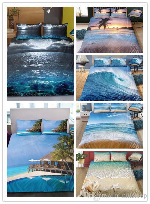 3d Duvet Cover Set Spindrift Blue Sea, Surf Bedding Queen