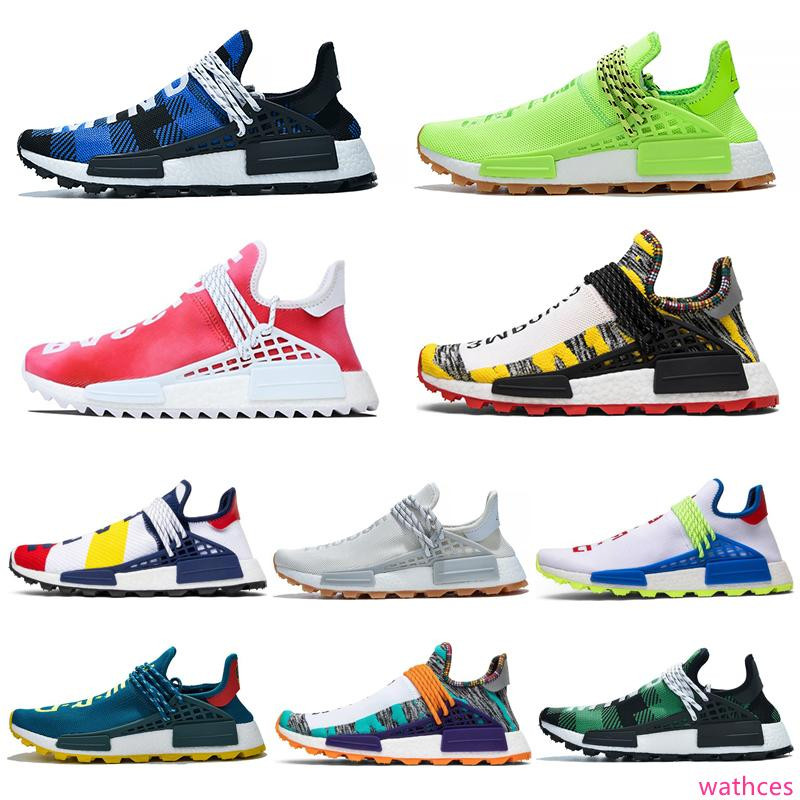 hot NMD human race Hu Trail PW men women Outdoor shoes Pharrell Williams Digijack Pack Know Soul womens mens trainers sports sneakers 36-47