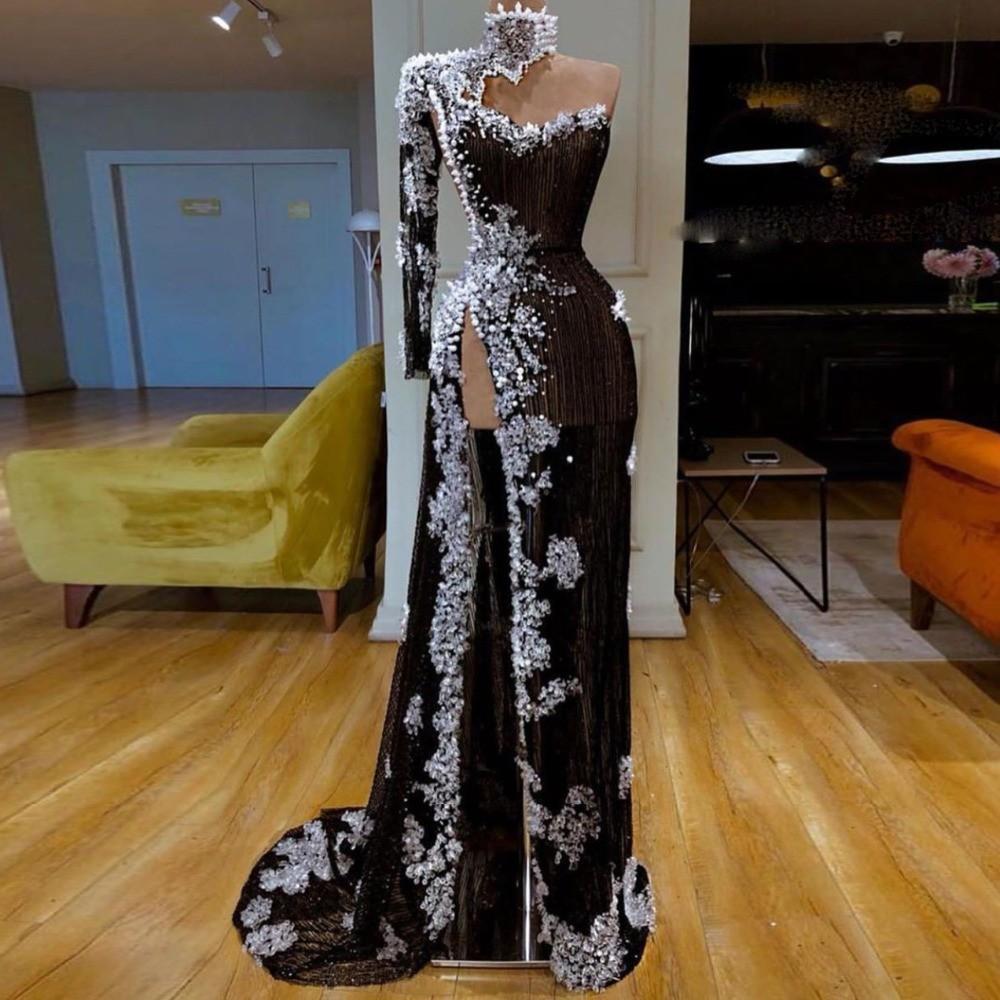 Dubaï africaine col montant robes de soirée avec des perles Perles dentelle sexy côté Appliques de bal de Split Robe de soirée longue robe de soirée noire Robes