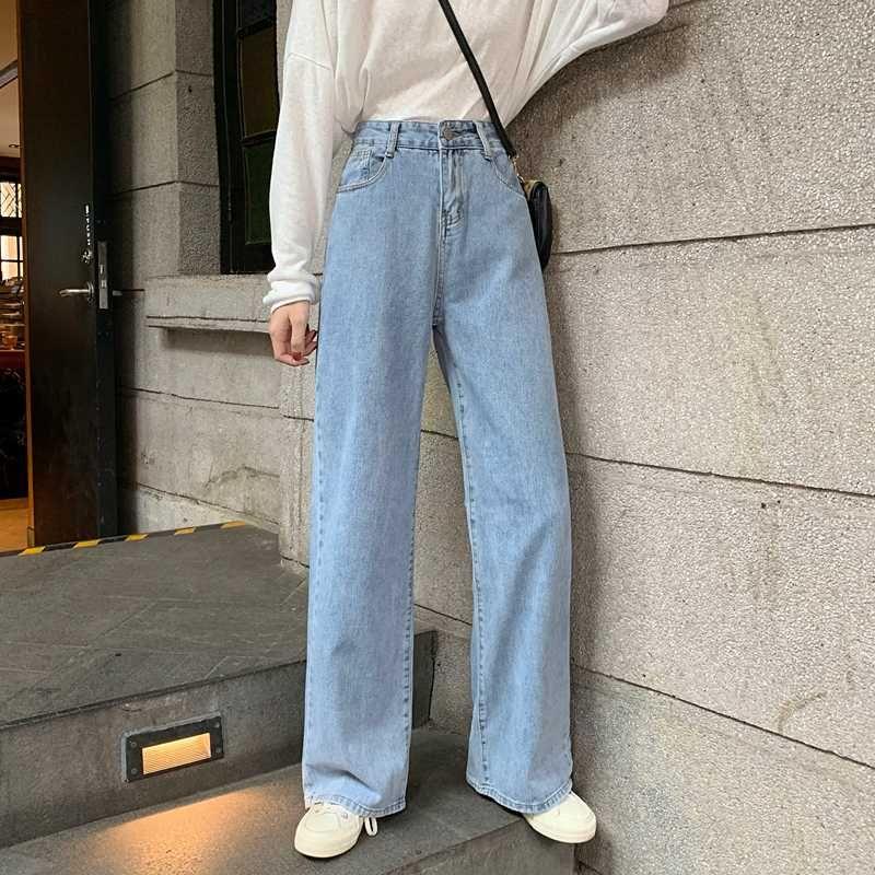 Женщина джинсы высокой талией Одежда Широкий Leg Denim одежда Синий Streetwear Урожай Качество 2020 Мода Harajuku Брюки прямые
