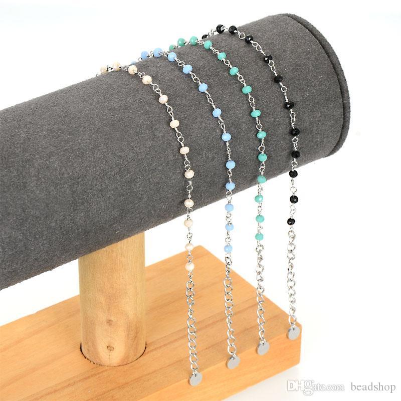 Miasol Mode Tiny 3 MM-Kristall-Charme-Korn-handgemachte verdrehter Edelstahl Twisted-Ketten-Silber-Armband für Frauen Armbänder