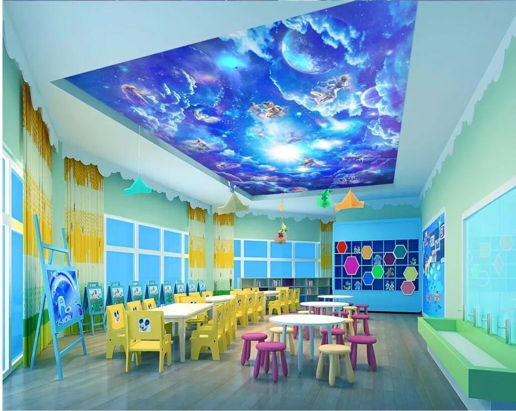 murales del techo 3d fondo de pantalla personalizado mural de doce constelaciones Galaxy salón del papel pintado decoración para el hogar Europea para paredes 3 d