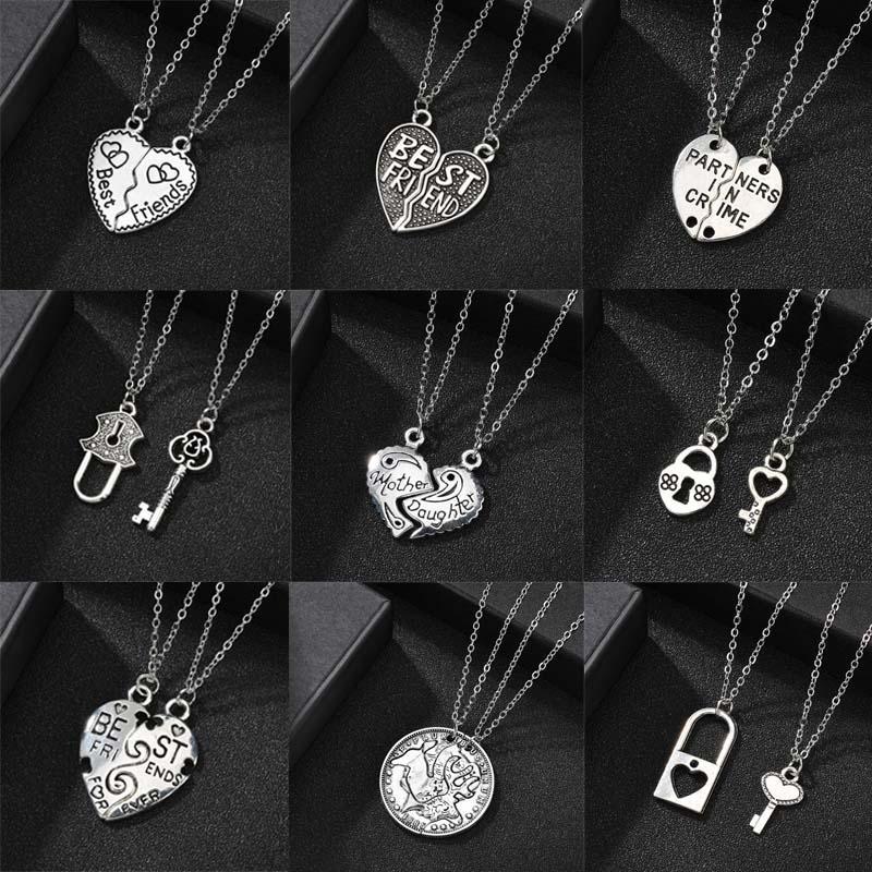 Collana Heart Clock chiave del pendente per le donne amore di Ture Due staccabile collane girocollo d'argento Coppie romantiche