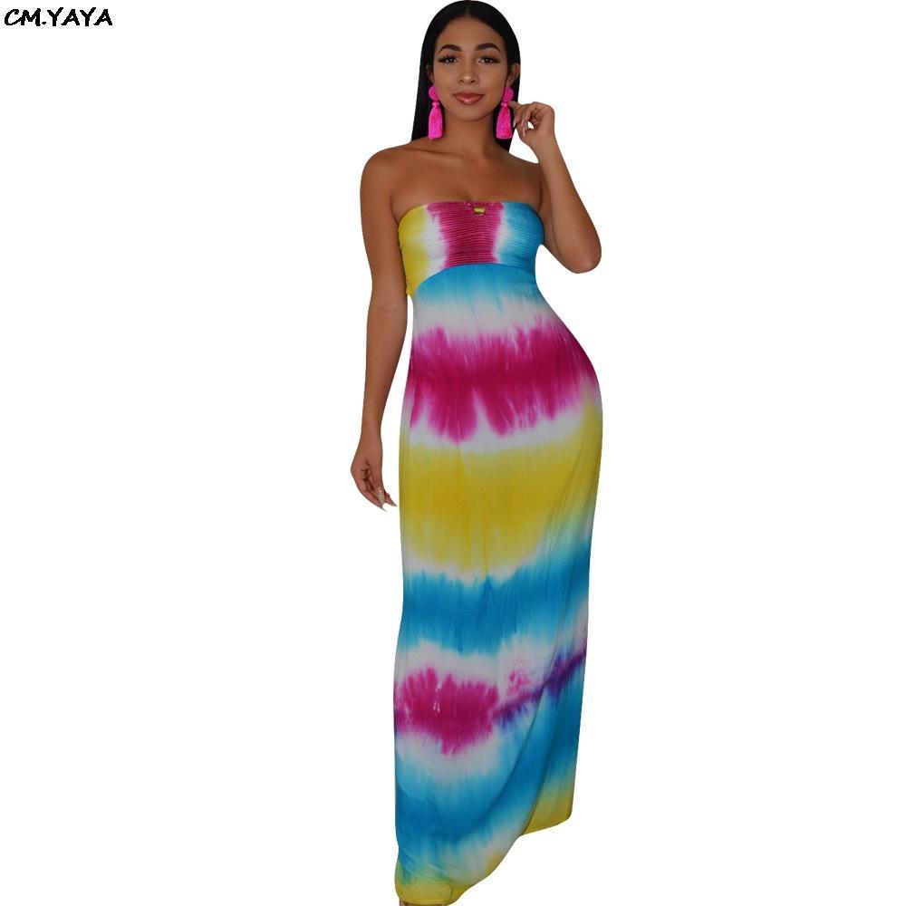 2019 mujeres verano sin tirantes tinte tinte raya impresión encaje encima de hueco fuera playa vestido maxi vestido bohemio vestidos largos Vestidos K8042