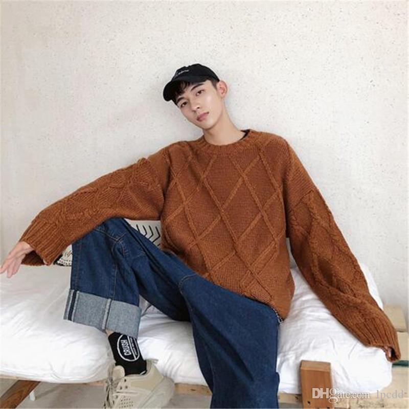 Moda trendi çekme homme 2019 yüksek kaliteli rahat Ç yaka erkek katı kış örme kazak Harajuku kazak erkek kore giysi