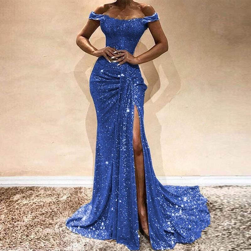 Altın kraliyet mavisi Denizkızı Abiye Dantel Aplikler Seksi Yarık payetli Kapalı Omuz bağbozumu Abiye Giyim Uzun Kollu Resmi Modelleri 2020