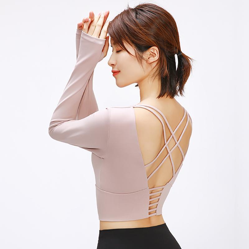 TWTOPSE 2020 Retour de la Croix-Straps Yoga Fitness Chemises Femmes matelassée anti-sueur Gym Workout manches longues hauts écourtés avec des trous de pouce