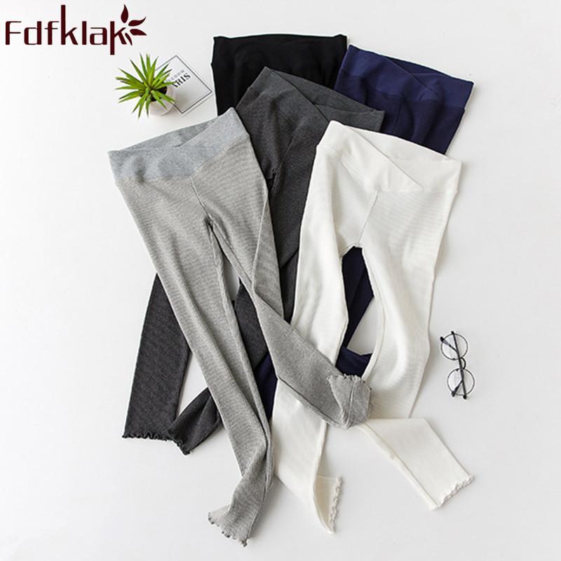 2019 Primavera Otoño Nuevo Algodón Leggings de maternidad Ropa embarazada para mujeres embarazadas Pantalones de embarazo de cintura baja 5 estilos Fdfklak
