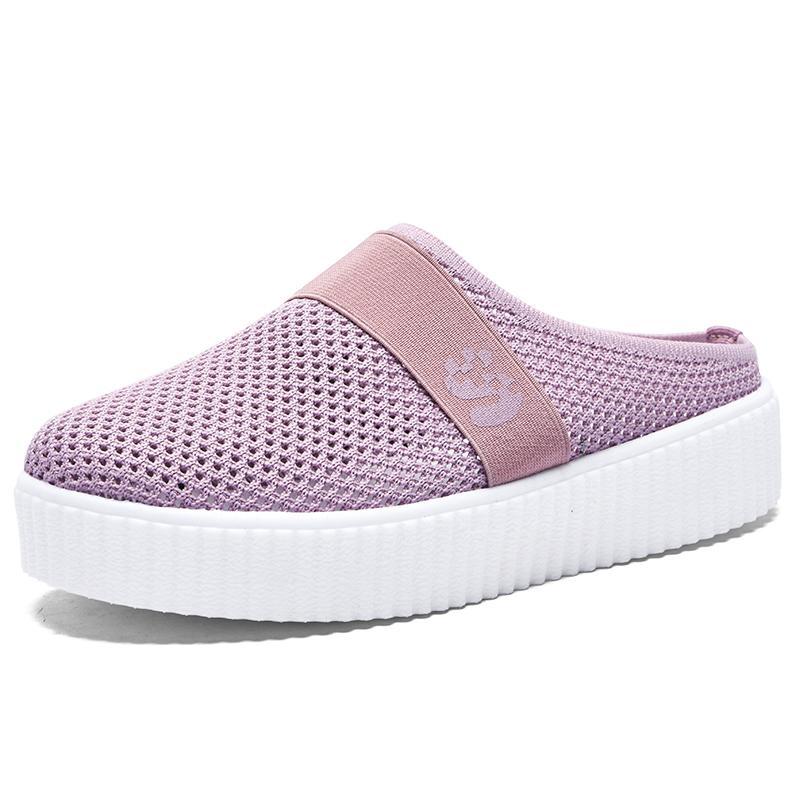 Kadınlara 2020 Yaz Pembe Kadın Terlik Nefes Rahat Açık Kalın Dip Sandalet Moda Işık Terlik Kayma-on