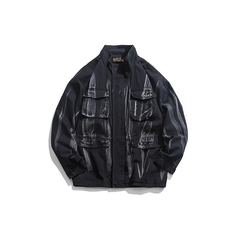 Jac de 2019 Brasão Novo Estilo de estilo japonês Tendência Origional de homens estão outono e lavagem de Inverno de salpicos de tingimento Collar Vestuário Homens