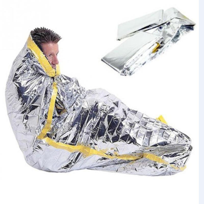 Portable waterproof reusable emergency sunscreen blanket silver foil camping survival warm outdoor adult children sleeping bag KHN12