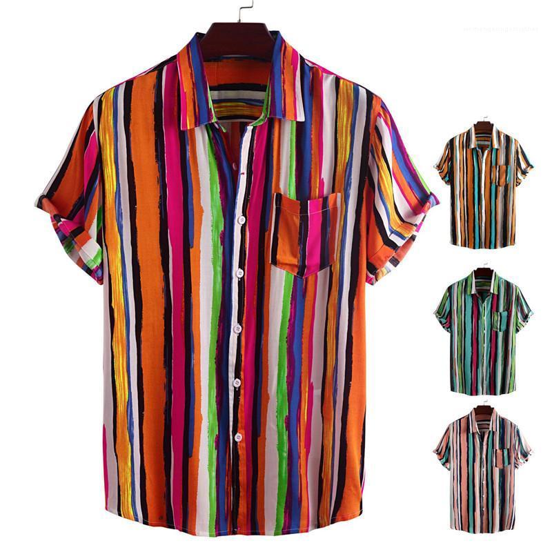 Plus Size 3XL magliette couverture collare monopetto a righe stampato Pocket magliette casual Designer Maschio Abbigliamento Estate Uomo