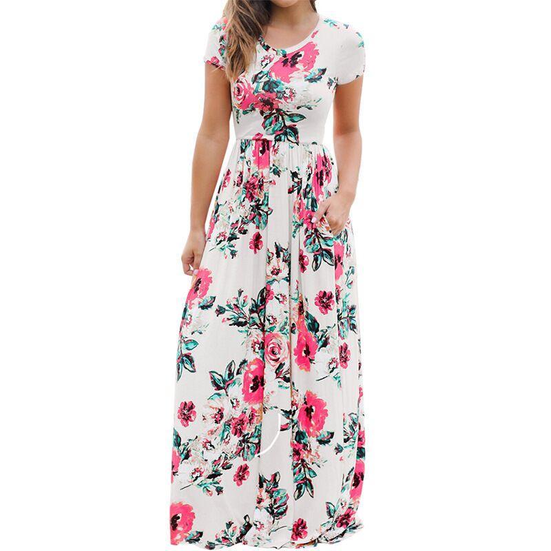 Women Floral Print Short Sleeve Boho Dress Evening Gown Party Long Maxi Dress Summer Sundress Clothing