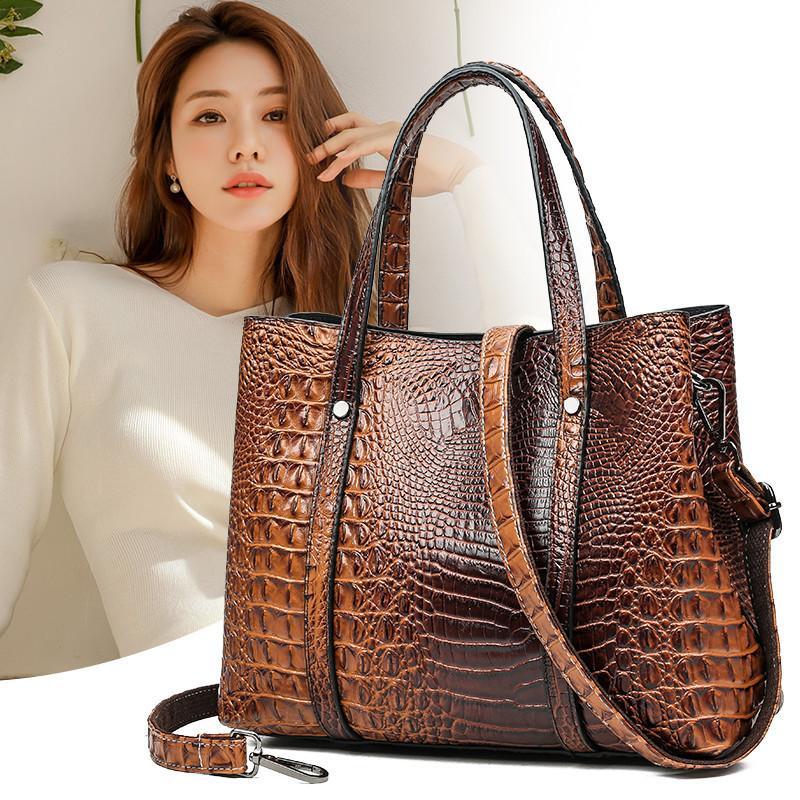 Clásico cocodrilo Bolsos, bolsos Cayman cocodrilo patrón en relieve de cuero bolso femenino grande Casual totalizadores asa superior bolsa