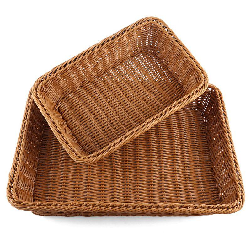 Corbeille à pain 2Pcs Rectangle imitation rotin tissé Panier de rangement pour fruits légumes aliments Grand panier en osier pain Poly (Taille: