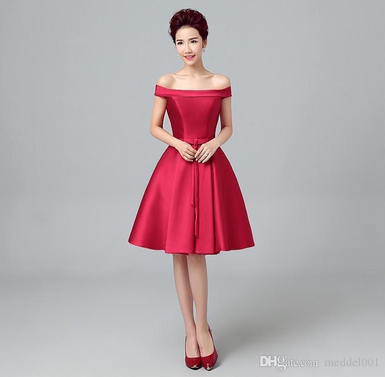 Bateau Boyun Kırmızı kısa Cocktial Elbiseler Saten Gelin elbise vestido coctel kısa elbise parti robe de kokteyl için elbise