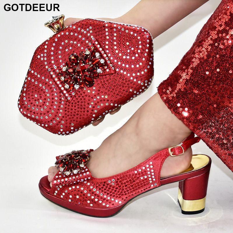 Rojo color del zapato de África y empaqueta el sistema de diseño italiano zapatos a juego y bolsas para zapatos de boda africana Partes de alta calidad