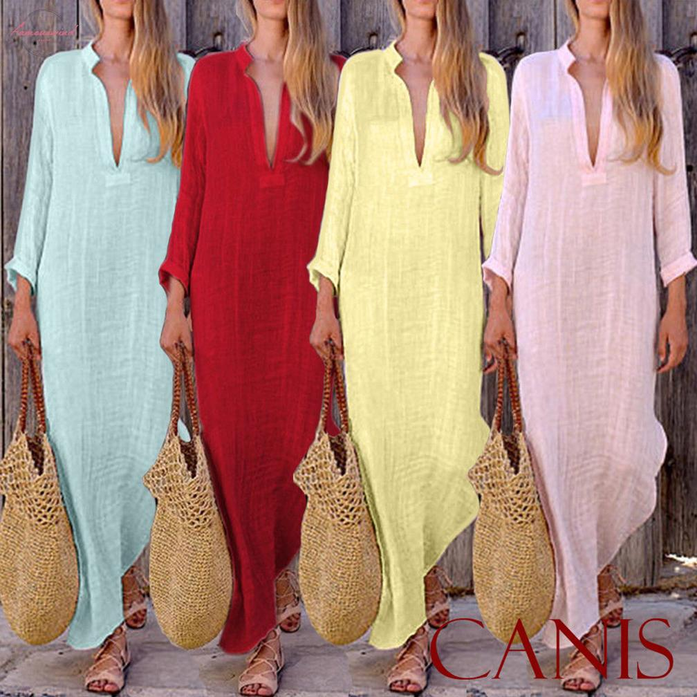 Linen Fashion Womens Boho Long Maxi Dress Lady Party Evening Summer Beach Sundress Women V Neck Long Dress
