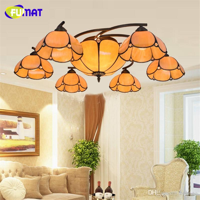 FUMAT European Luxury Vintage Warm Ceiling Lamp Living Room Remote Control Stained Glass LED Light Yellow Shade Ceiling Lights