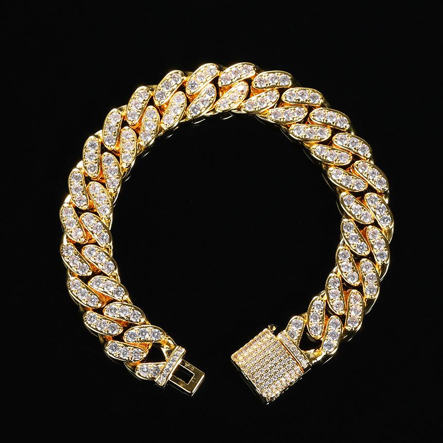 12mm elmas açacağı Miami Küba 18 k Altın bilezik erkekler Kübik Zirkonya elmas Küba zincir Hip Hop Takı