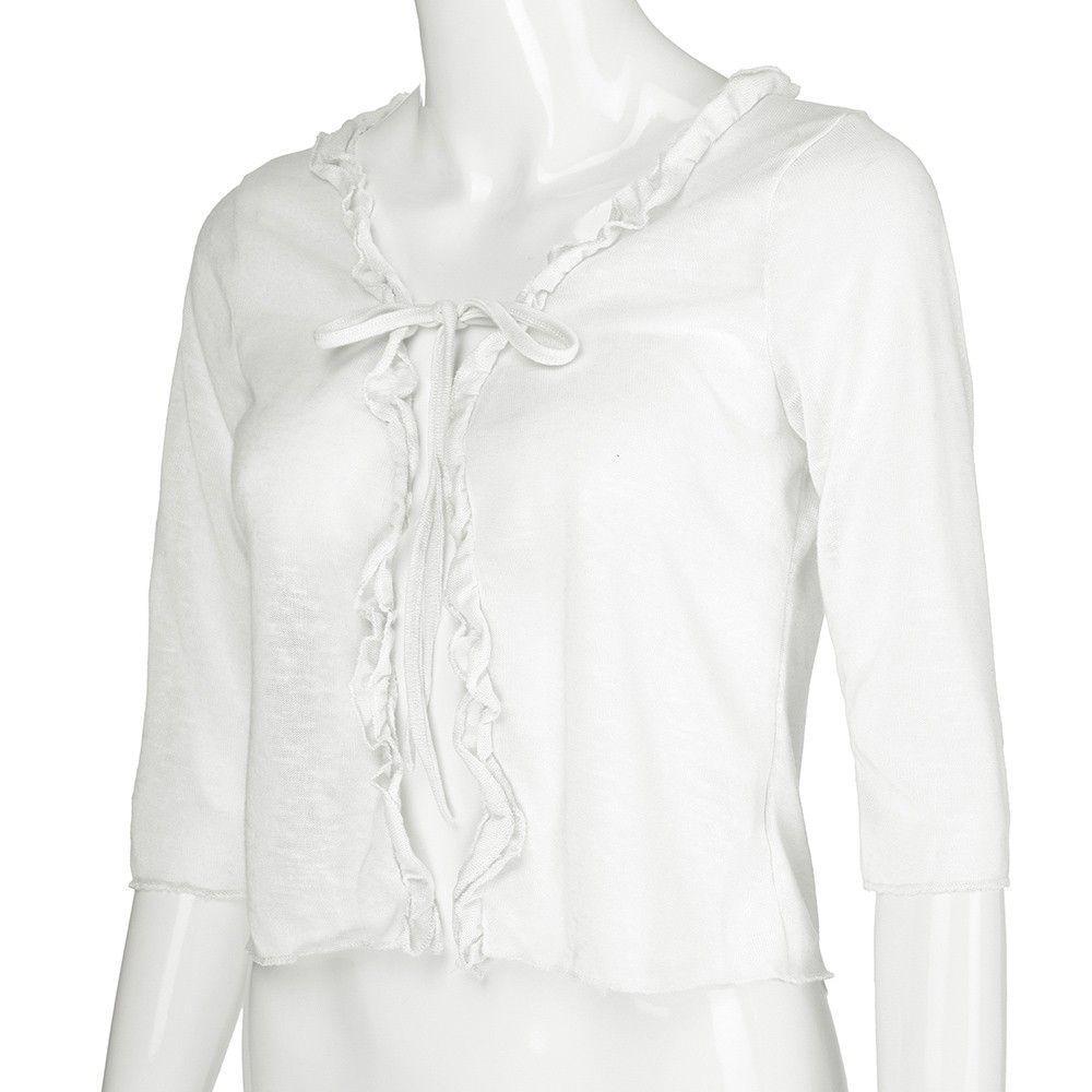 00d3928812 Lightweight Shrug Bolero For Women Ruffle Cropped Knit Cardigan Top Office  Harajuku Casual Modis Gothic Vintage Shein Ulzzang Cool T Shirt Companies  24 Hour ...