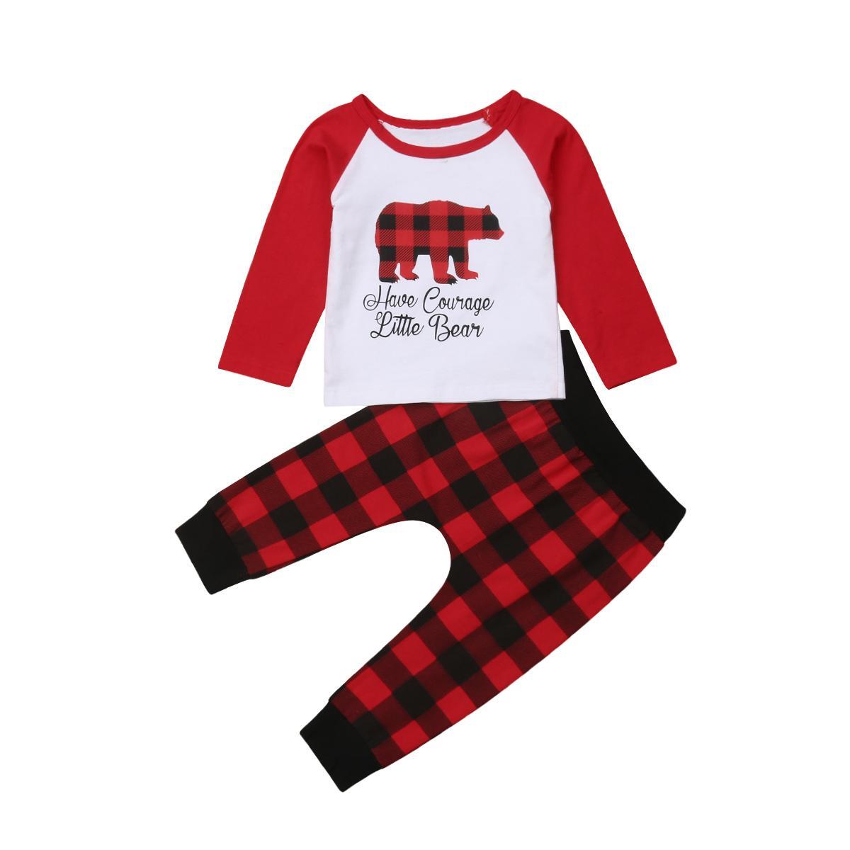 Niña Niño infantil de Navidad del niño de los niños del bebé de manga larga camiseta de la cerveza Tops tela escocesa del rojo de las bragas 2 piezas de pantalones de Navidad de la ropa del
