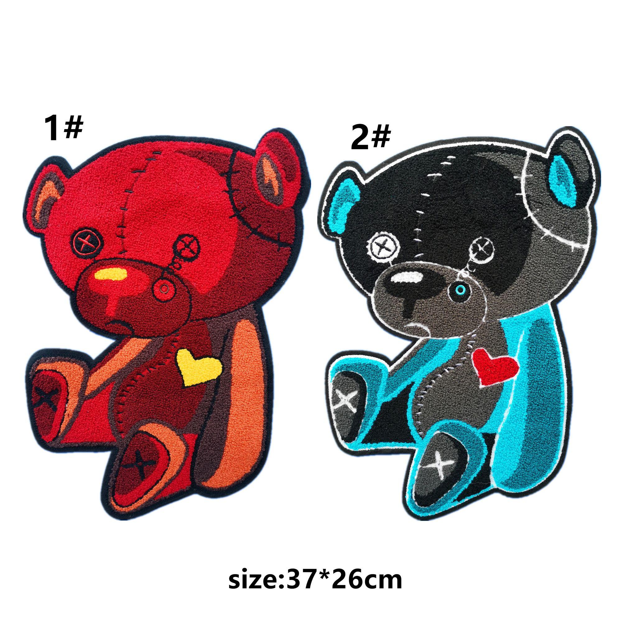 broderie gros patchs coeur ours chenille pour vestes, serviette brodée porte insignes appliques pour jeans, correctifs pour vêtements A171