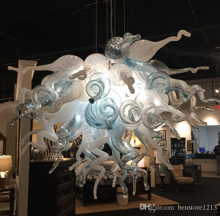 Moderne Hand Made geblasenem Glas Kronleuchter Pendelleuchten Freies Verschiffen LED-Birnen-weiße und blaue Murano Glas Anhänger Beleuchtung Lampe